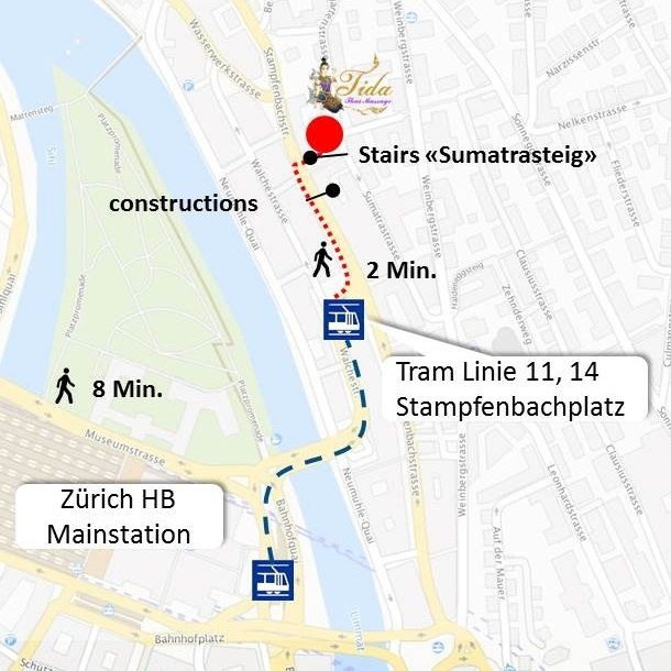 Directions map from main station Zurich to Practice at Sumatra street 25
